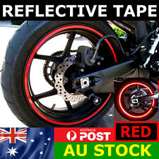 RED Reflective Wheel Tape Set Motorcycle Bike Car 16 17 18 Rim Stripe Glow
