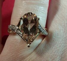 Morganite and Diamond Ring in 10K Yellow Gold - Size 7