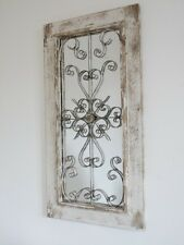 SHABBY CHIC RUSTIC RECTANGLE WOOD & METAL LATTICE MIRROR WALL MOUNTED  (4431)
