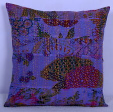 """16"""" KANTHA FLORAL EMBROIDERED PILLOW CUSHION COVER Throw Indian Ethnic Decor"""