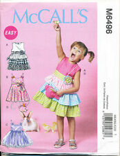 MCCALL'S SEWING PATTERN 6496 GIRLS 6-8 FLARED GATHERED RUFFLED DRESS TULLE SKIRT