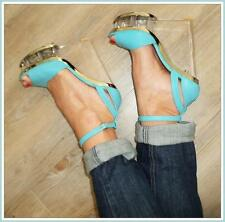 GLAM AQUA BLUE LUCITE WEDGE 7 / 7.5 ANKLESTRAP peep-toe PLATFORM heels NEW SHOES