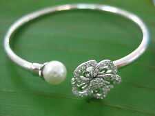 Real 925 sterling silver BANGLE White gold plated ( pearl & Cz Flower ) Women
