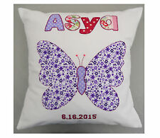 Purple Butterfly Cushion UK made Girls bedroom decoration gift Personalised