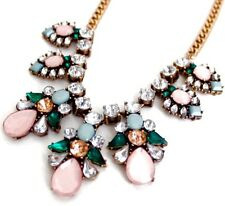 GREEN ROSE PINK CLEAR WHITE CRYSTAL RHINESTONE Floral Pendant Statement Necklace