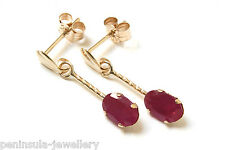 9ct Gold Ruby short Drop earrings Gift Boxed Made in UK