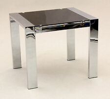 Kensington Black Glass and Chrome Lamp Side End Coffee Table
