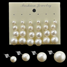 Lot 12 Pairs Fashion Women White Pearl Bead Charm Earrings Ear Stud Jewelry Gift