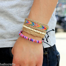 HC 4PCs/Set Retro Unisex Multilayer Multicolor Wood Beads Leather Cuff Bracelet