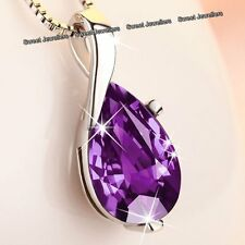 BLACK FRIDAY SALE - Xmas Gift For Her Silver & Purple Necklace Love Ladies Women