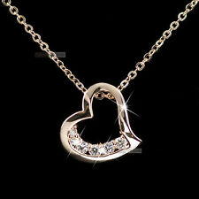 18k rose gold gf genuine SWAROVSKI crystal heart pendant necklace elegant