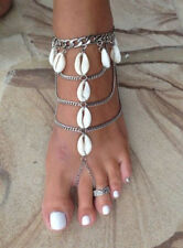 Hot woman's silver plated shell tassel anklet foot bracelet beach boho jewelry
