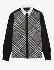 FRED PERRY WOMENS B&W PRINCE OF WALES SHIRT *UK 8/EU 36* BNWT *RRP £85*