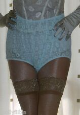 Vintage style green sheer lace granny full briefs knickers panties size large