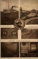 HAMBURG ~1910 AK Elbtunnel Hafen Blick HH-Steinwärder mit Dampfer Matrose uvm.