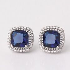 Style earring! sapphire fit 18k white gold filled Engagement stud earring