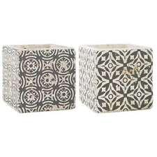 IB Laursen Blumentopf Übertopf 2er Set Marrakech Ethno Stil grau aus Keramik