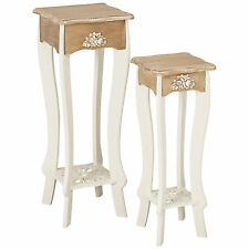 Cream & Wood Finish End Lamp Small Square Side Table with Shelf