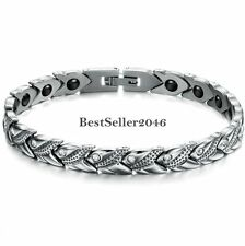 Silver Stainless Steel Braided Link Chain Magnetic Bracelet Womens Ladies Gifts