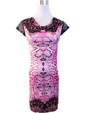 Womens Bodycon Evening Cocktail Party Abstract Animal Lace Print Dress sz 12 W54