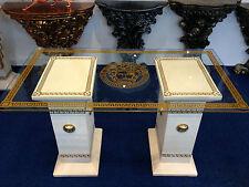 Glastisch Esstisch medusa mäander Barock Säulen Wohntisch Stuckgips 6035 108 130