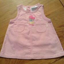 Disney Baby Girls Pink Corduroy Pinafore Dress Size 0-3 Months New Without Tags