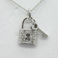 White Gold Plated Genuine Swarovski Elements Crystal Key Lock Necklace
