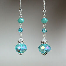Turquoise blue crystal vintage silver long drop earrings wedding bridesmaid gift