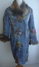 KENZO FLORAL PAINTED MOTIF 2 TONE FAUX FUR TRIM BLUE LONG DENIM COAT  UK 10 US 6