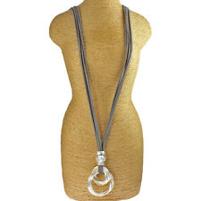 Twisted loop ring pendant grey leather suede fashion lagenlook long necklace