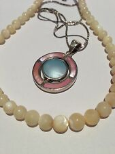 STERING SILVER  NECKLACE  + Mother of Pearl Beads Necklace