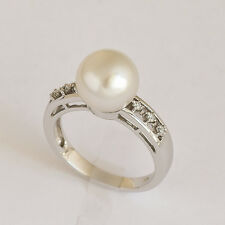 SOUTH SEA PEARL RING. 10mm CULTURED PEARL + 6 DIAMONDS ON 14K WHITE GOLD. SIZE N