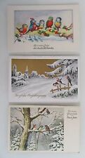 3x Glückwunsch Fest Neujahr Vogel Motive Vögel Birds Happy New Year ~1940/50