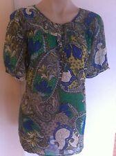 Ladies MILLERS Paisley Top Size 14 Short Sleeve Semi Sheer Green Blue Yellow