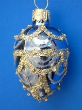 BLUE SILVER FABERGE EGG BLOWN GLASS CHRISTMAS TREE ORNAMENT