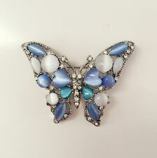New Blue White Stone Butterfly European Style Spirit Crystal Brooch Pin BR1343