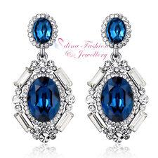 18K White Gold GF Swarovski Element Luxury Large Sapphire Chandelier Earrings