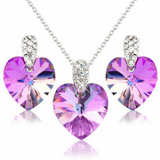 ELEGANT PINK HEART NECKLACE EARRINGS JEWELLERY SET SWAROVSKI ELEMENT CRYSTALS.