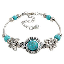 Fashion Women Turquoise Bead Silver Plated Bracelet Butterfly Adjustable Bangle