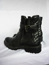 ZARA TRAFALUC BLACK LEATHER QUILTED ANKLE BOOTS BIKER STYLE FAB CHELSEA SIZE 6