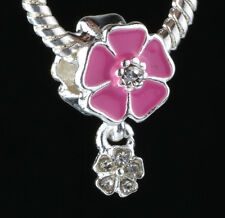 925 Silver Charm Beads Flowers Pendant Fit sterling Bracelet Necklace Chain BB61