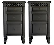 Set of 2 BLACK three drawer Belgravia style BEDSIDE TABLES Cabinets shabby/chic