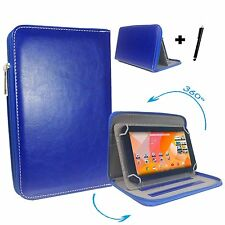 """10.1 inch Pu Leather Flip Case for Archos 101D Neon Tablet - 10.1"""" Zipper Blue"""