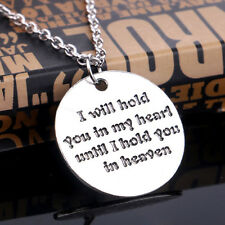 I Will Hold You in My Heart Words Letters Round Tag Pendant Necklace Chain Gift