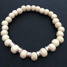 Men's White Wooden Bead And Tibetan Silver Beaded Bracelet. Surfer Boho Bracelet