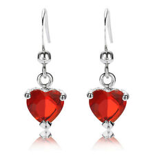 Fashion Jewelry Lady Heart Cut Red Ruby White Gold Plated Drop Dangle Earrings