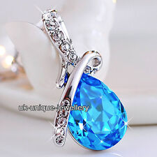 Blue Sapphire Crystal Necklace Silver CHRISTMAS Jewellery Xmas Gift For Her Love