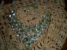 """GREEN AMETHYST NECKLACE 19""""  w 77 GR SILVER CHAIN OVER 50 K W Matching Earrings"""