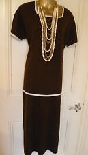 1920'S PAST TIMES KNITTED WOOL DRESS SUIT MAXI SKIRT TOP CALF LENGTH NEW UK L 16