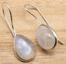 Shop With Confidence !! 925 Silver Overlay Blue Fire RAINBOW MOONSTONE Earrings